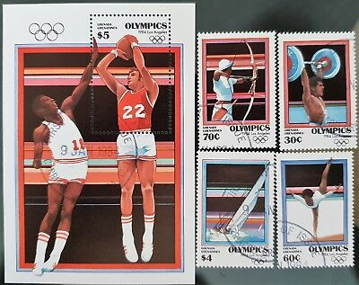 Grenada Grenadines 1984 Sc # 570 to Sc #574 Olympics Mini Sheet Mint CTO Stamps