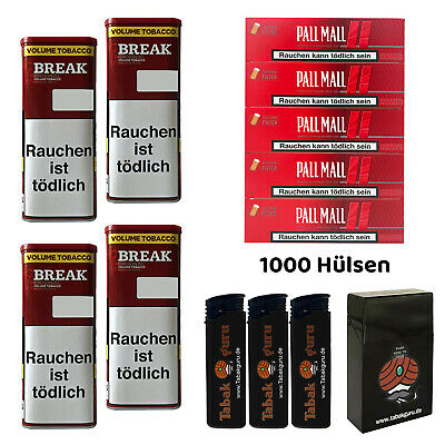 4 Break Original XXL Tabak Dosen Volumentabak, Authentic Hülsen, Feuerz., Box