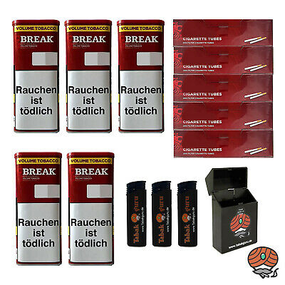 5 Break Original XXL Tabak Dosen Volumentabak, Break Hülsen, Feuerz., Box