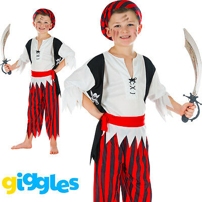 Boys Pirate Buccaneer Kids Child World Book Day Week Fancy Dress Costume Outfit