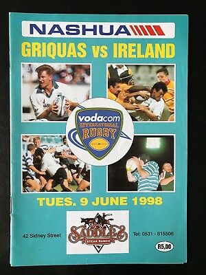 9037 - IRELAND 1998 tour v Griquas (SA) Rugby Programme 09/06 9th June IRFU