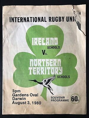 9040 - IRELAND 1980 tour v Northern Territory (Aus) Rugby Programme SCHOOLS
