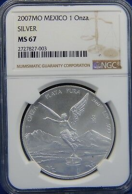 2007 Mo 1 OZ NGC MS67 SILVER LIBERTAD or ONZA of MEXICO BRIGHT WHITE COIN! KEY