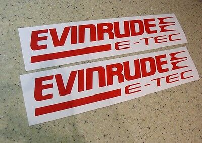 Evinrude e-Tec Outboard Motor Decals 2-Pak Red FREE SHIP + FREE Fish Decal!