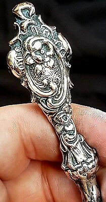 Antique Ornate Victorian Rococo Silver Handled Button Hook, Birmingham 1894
