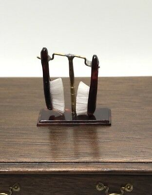 Dollhouse Miniature Artisan St. Leger Tortoise Shell Set Of Brushes & Stand (R)