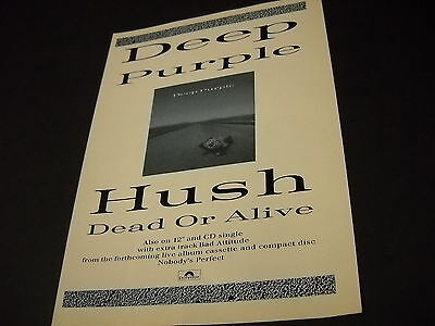 DEEP PURPLE vintage U.K. Promo Display Ad HUSH and DEAD OR ALIVE mint cond