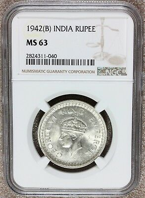 1942 (B) British India One Rupee Silver Coin - NGC MS 63 - KM# 557.1