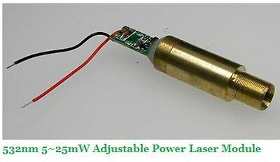 532nm 5-25mw adjustable power laser module 3.0VDC