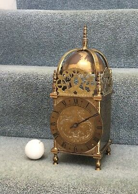 "Antique/Vintage?  Large, Heavy French Brass Lantern Clock 11 1/2"" (285mm) tall."