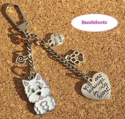 Westie Always In My Heart Key Ring, Bag Charm. Best Friend. Hand Made With Love