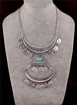 Antique Charm Gorgeous Tibetan Silver Coins Layer Tassel Chunky Choker Necklace