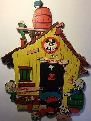 MICKEY MOUSE CLUB hard cardboard display (1958?) w/Goofy, Donald Duck's nephews