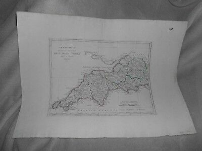 A.B. BORGHI 1816 ANTIQUE MAP of DELL INGHILTERRA ENGLAND UK ENGLISH SW COUNTIES