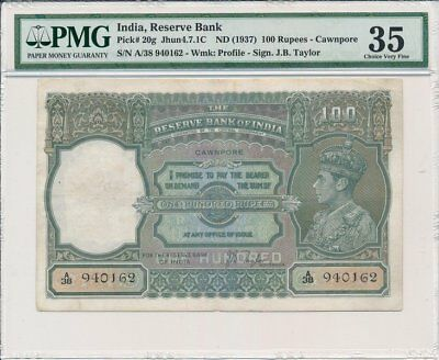 Reserve Bank India  100 Rupees ND(1937) Cawnpore, rare PMG  35