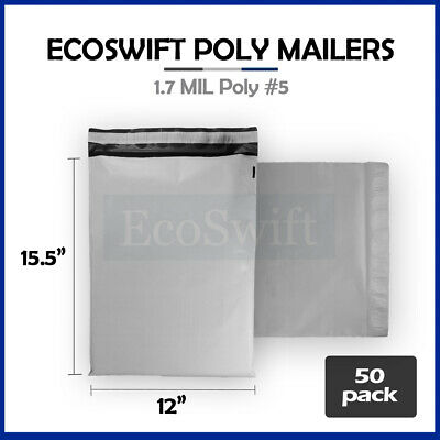 50 12x15.5 White Poly Mailers Shipping Envelopes Self Sealing Bags 1.7 MIL