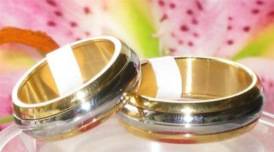 MENS WOMENS  6MM WEDDING BAND WEDDING  RING  str245 DOME STAINLESS STEEL GOLD