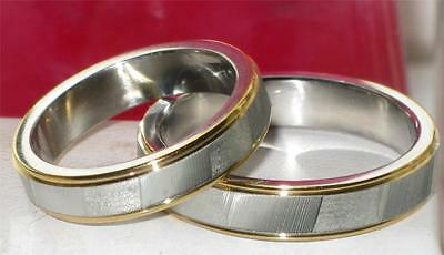 Mens Or Womens  2 Tone Stainless Steel 4Mm Wedding Band Wedding Ring  Str56