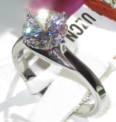 K104 SOLITAIRE SWIRL ENGAGEMENT SIMULATED DIAMOND RING STAINLESS STEEL  WOMENS