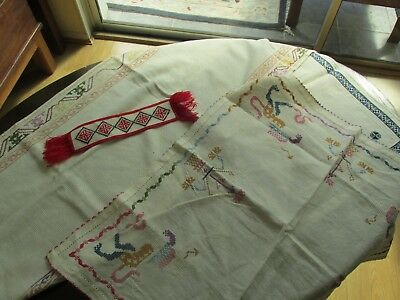 Collection of vintage hand embroidered items to include bookmark.