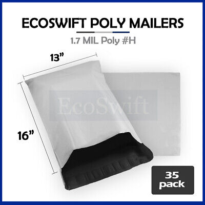 35 13x15 White Poly Mailers Shipping Envelopes Self Sealing Bags 1.7 MIL 13 x 15
