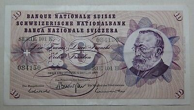 Vintage, Circulated, 1977 Bank Of Switzerland 10 Franc Note, Paper Money