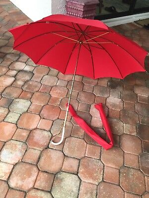 Vintage Red Umbrella/ Parasol with gold emblems Chain Handle ~ Italy ~ w/ Sleeve
