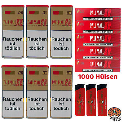 6 Pall Mall Authentic Red/Rot Tabak á 115 g, Authentic Xtra Hülsen, Feuerzeuge