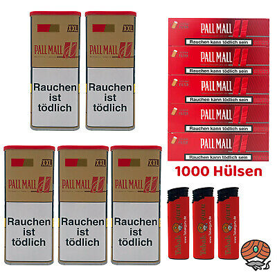 5 Pall Mall Authentic Red/Rot Tabak á 115 g, Authentic Xtra Hülsen, Feuerzeuge
