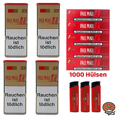 4 Pall Mall Authentic Red/Rot Tabak á 130 g, Authentic Xtra Hülsen, Feuerzeuge