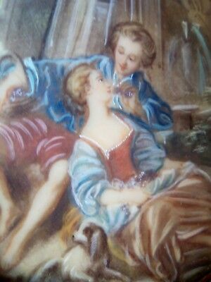 Miniature 19thc garden scene, hand painted lovers in garden, goats and dog 1of2