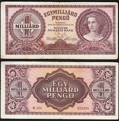 HUNGARY 1 MILLIARD (BILLION) PENGO MILPENGO 1946 aVF P.125 (1,000,000,000)