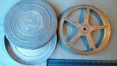 VINTAGE 16mm ALUMINIUM EMPTY FILM REEL CAN WITH SPOOL -  USED