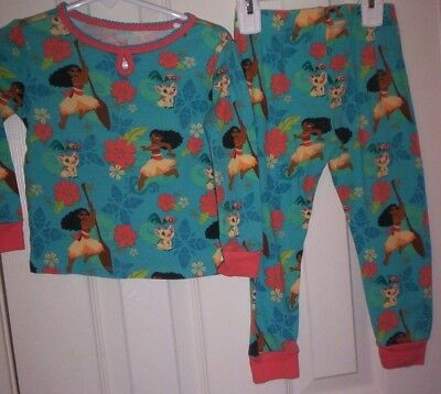 DISNEY STORE~MOANA TURQUOSE COTTON KNIT LONG SLEEVE 2pc PAJAMAS ORANGE TRIM 3-3T