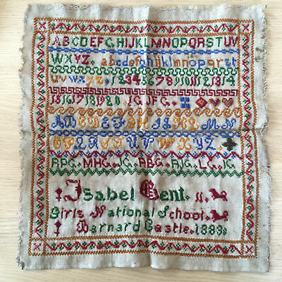 NEEDLEWORK SAMPLER Isabel Gent Girls National School Barnard Castle 1883unframed