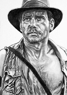 ORIGINAL ACEO sketch card INDIANA JONES Harrison Ford