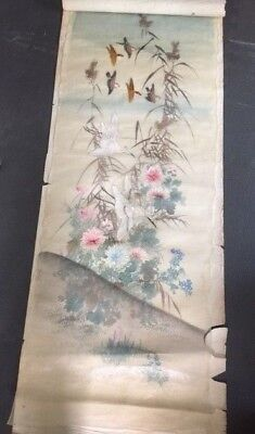 """3Set Of 3 Antique Chinese Hand Embroidered Painted Cranes Silk Panels 52"""" Signed"""