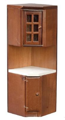 Dolls House Walnut Fitted Corner Unit Miniature 1:12 Kitchen Furniture