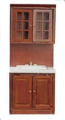 Dolls House Walnut Fitted Sink Unit Miniature 1:12 Kitchen Furniture