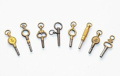 Collection Of 8 Antique / Vintage  Pocket Watch Keys Various Sizes