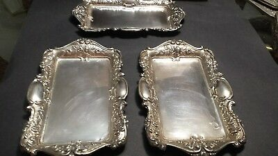 220g STERLING SILVER SET 3 ELEGANT TRAY BORDER ROSES CARVING:GARCIA DIONISIO HM