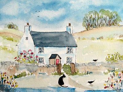 ORIGINAL Watercolour Painting: ANIMALS: COUNTRY COTTAGE, CATS & BIRDS