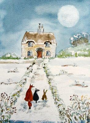 ORIGINAL Watercolour Painting: ANIMALS: FOX, BADGER, HARE/ENGLISH COTTAGE/MOON