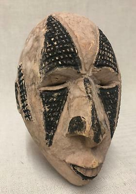 Nigerian Idoma Old Carved Wooden White Mask with Face Scarification Marks