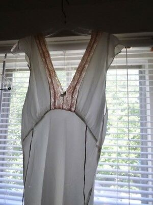 VINTAGE 30's Silk Satin Nightgown Lingerie Silvery Blue in Color Lace Trimming