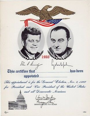 1960 Kennedy Johnson Campaign Appointment Certificate Souvenir