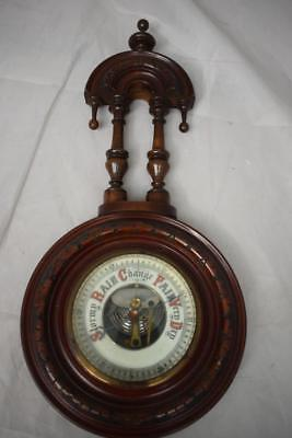 Wooden carved wall  barometer