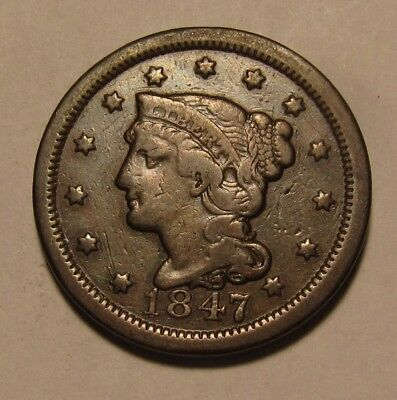 1847 Braided Hair Large Cent Penny - Very Fine Condition.- 31SU