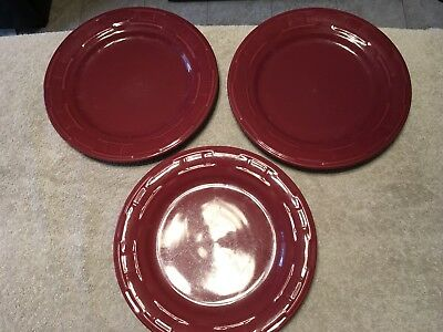 """Set Of 3 Longaberger Pottery Woven Traditions 10"""" Paprika Red Dinner Plates"""