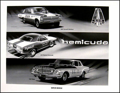 1962 Dodge Dart Max Wedge Race Art Print Lithograph, 1970 Barracuda Belvedere